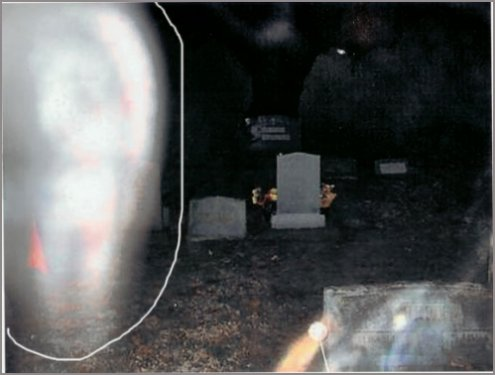 ghost in cemetery - five corners cemetery